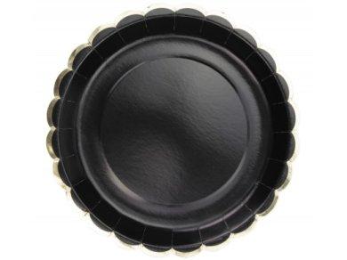 Μαύρα Χάρτινα Πιάτα με Χρυσή Μπορντούρα (8τμχ)