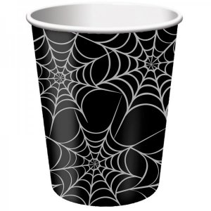 Black Paper Cups With Spider Web (8pcs)