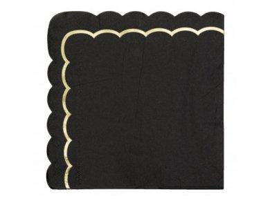 Μαύρες Χαρτοπετσέτες με Χρυσοτυπία (16τμχ)