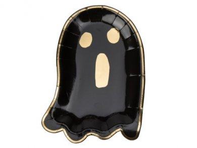Μαύρο Φαντασματάκι Χάρτινα Πιάτα με Χρυσοτυπία (8τμχ)