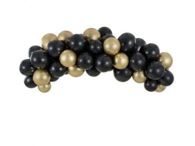 Μαύρο και Χρυσό Γιρλάντα - Αψίδα με Λάτεξ Μπαλόνια (2μ)