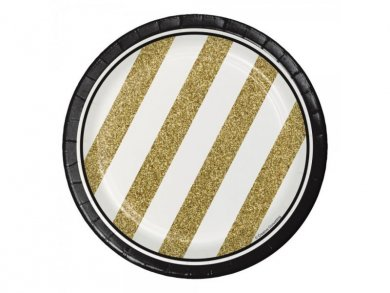Black & Gold Small Paper Plates 8pcs