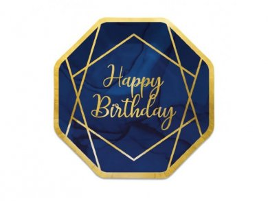 Birthday with Navy Blue and Gold Large Hexagonal Paper Plates (8pcs)