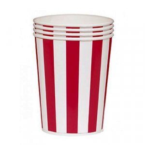 Large Pop Corn Buckets with Red Stripes 4pcs