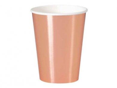 Μεγάλα Ποτήρια Χάρτινα σε Ροζ Χρυσό Μεταλλικό Χρώμα (8τμχ)