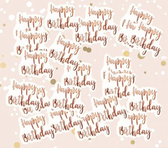 Large Rose Gold Happy Birthday Table Confetti