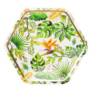 Chic Τροπικά Φύλλα Μεγάλα Χάρτινα Πιάτα (8τμχ)