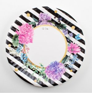 Floral with White and Black Stripes Large Paper Plates (8pcs)