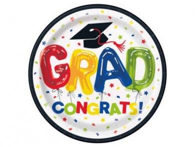 Colorful Grad Congrats Large Paper Plates 8pcs