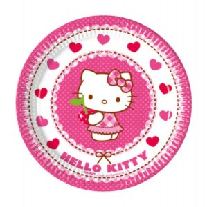 Μεγάλα Χάρτινα Πιάτα Hello Kitty 8τμχ