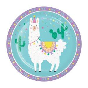 Llama Party Large Paper Plates (8pcs)
