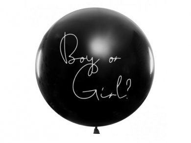 Large Black Latex Balloon for Gender Reveal with Blue Confettis