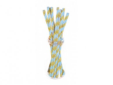 Mint Paper Straws with Gold Foiled Stripes (10pcs)