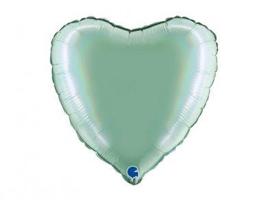 Μέντα Ολογραφικό Τύπωμα Μπαλόνι Καρδιά (46εκ)