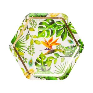 Chic Tropical Leaves Small Paper Plates (8pcs)