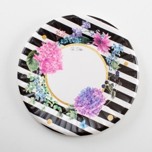 Floral with White and Black Stripes Small Paper Plates (8pcs)