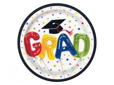 Colorful Grad Congrats Small Paper Plates 8pcs