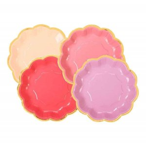 Mix of Rose Small Paper Plates with Gold Foiled Edge (12pcs)