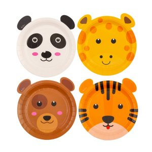 Smiling Animals Small Shaped Paper Plates (8pcs)