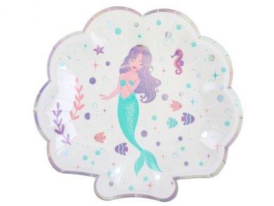 Little Mermaid Shaped Paper Plates (10cm)