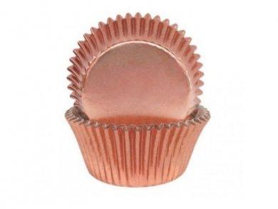 Μίνι Θήκες για Cupcakes σε Ροζ Χρυσό Μεταλλικό Χρώμα 60τμχ