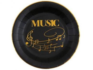 Μουσική Μαύρα Μεγάλα Χάρτινα Πιάτα με Χρυσό Τύπωμα (10τμχ)