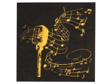 Μουσική Μαύρες Χαρτοπετσέτες με Χρυσό Τύπωμα (20τμχ)