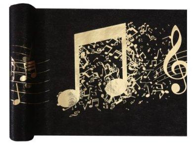 Μουσική Μαύρο Υφασμάτινο Runner με Χρυσό Τύπωμα (30εκ x 5μ)