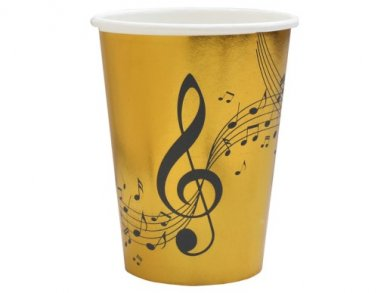 Music Gold Paper Cups with Black Print (10pcs)