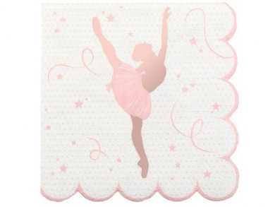 Ballerina Beverage Napkins with Rose Gold Foiled Print (20pcs)