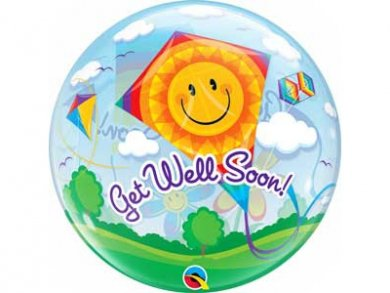 Bubble Balloon Get Well Soon with Flowers and Kite (56cm)