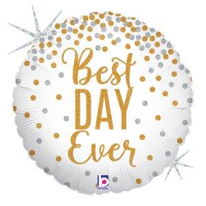 Best Day Ever Άσπρο Χρυσό Ολογραφικό Τύπωμα Μπαλόνι Foil
