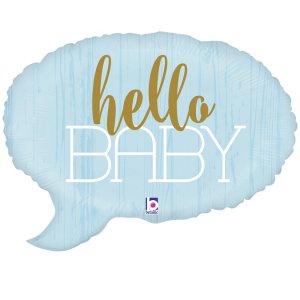 Hello Baby Pale Blue Foil Balloon