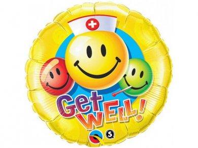 Foil Μπαλόνι Καλή Ανάρρωση - Περαστικά - Get Well με Emoji (46εκ)