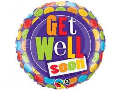 Foil Μπαλόνι Καλή Ανάρρωση -  Περαστικά - Get Well Soon Πολύχρωμο Πουα (46εκ)