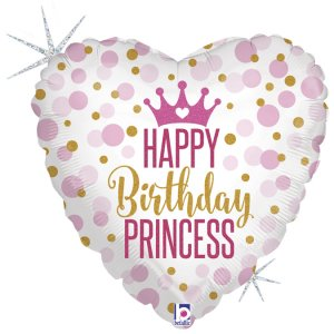 Heart Happy Birthday Princess Pink and Gold Dots Holographic Foil Balloon
