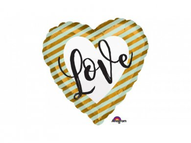 Heart Love Gold and Mint Balloon Foil (43cm)