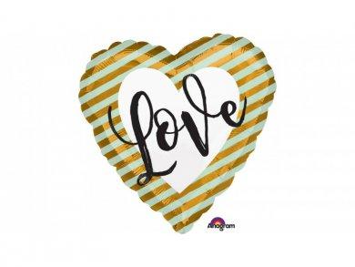 Καρδιά Love Χρυσό και Μέντα Μπαλόνι Foil (43εκ)