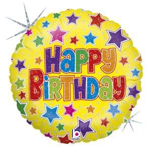 Κίτρινο Με Πολύχρωμα Αστέρια Ολογραφικό Τύπωμα Για Γενέθλια Happy Birthday Μπαλόνι Foil