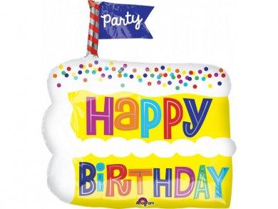 Κομμάτι Τούρτας Happy Birthday foil Μπαλόνι (50εκ)