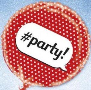 Foil Μπαλόνι Για Πάρτυ Με Πουά Κόκκινο Με Hashtag Party