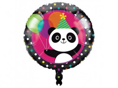 Foil Balloon Panda with Multicolor Dots and Balloons (46cm)