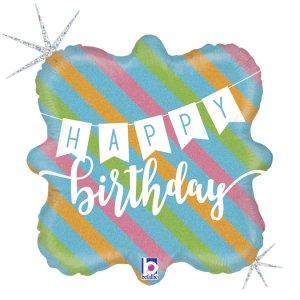 Pastel Holographic Happy Birthday Foil Balloon (46cm)