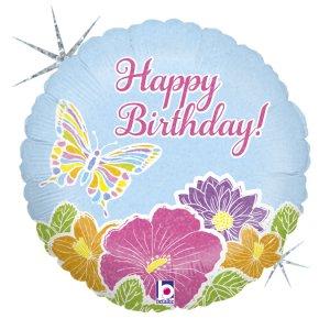 Πεταλούδα Με Λουλούδια Μπαλόνι Foil Για Γενέθλια Happy Birthday Με Ολογραφικό Τύπωμα