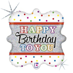 Colourful Happy Birthday with Dots Holographic Design Balloon Foil