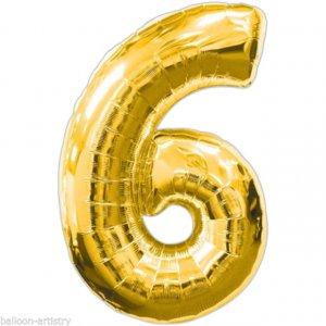 Supershape Μπαλόνι Αριθμός 6 Χρυσό (100εκ)