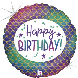 Mermaid Foil Balloon Happy Birthday