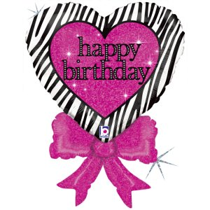 Heart Black and Fuxia Happy Birthday Holographic Supershape Balloon