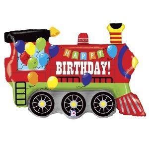 Little Colourful Train Happy Birthday Supershape Balloon