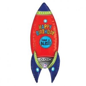 Rocket Happy Birthday Supershape Balloon
